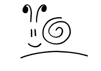 Funny snail hand painted logo in vector
