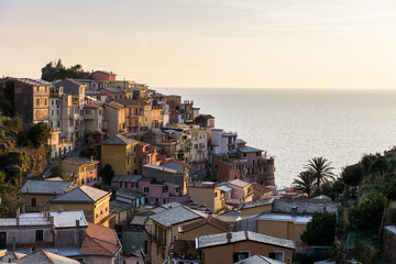 High angle view of houses on hill by sea at Manarola during sunset