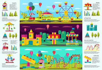 Colorful Amusement Park infographic Banners