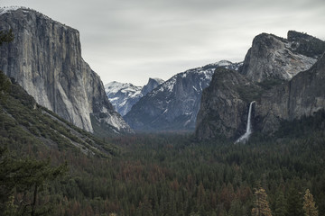 Majestic view of Yosemite Valley and Bridalveil Fall from Wawona Tunnel