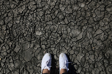 Low section of woman standing cracked land