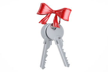 Two keys with red bow, 3D rendering