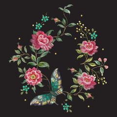Embroidery colorful trend floral pattern with roses and butterfly. Vector traditional folk roses and forget me not flowers bouquet on black background for design.