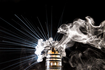 Dissassembled electronic Cigarette vape explosion