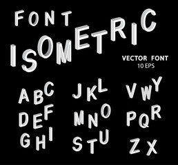 Set of vector letters of the isometric view.