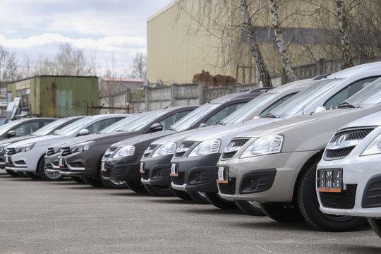 "Kaluga, Russia - April, 20, 2017: New cars on a parking in car dealership of ""Lada"" in Kaluga, Russia"