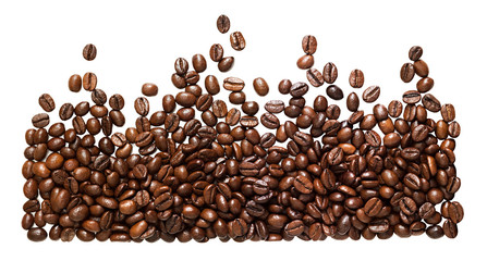 panorama  beans coffee isolated on a white background