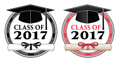 Graduating Class of 2017 - Vector is a design in color or in black and white that shows your pride as a graduate of the class of 2017. Includes a cap, text and diploma.