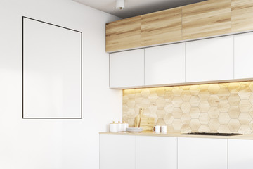 Kitchen counters and poster