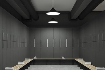 Gray locker room interior