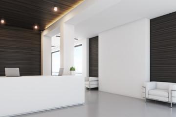 Dark wood reception, armchair, side