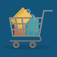shopping cart with shopping bags icon over blue background. colorful design. vector illustration