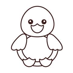 kawaii duck animal icon over white background. vector illustration