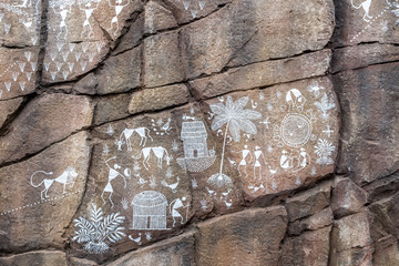 Day view of ancient rock carvings in modern way