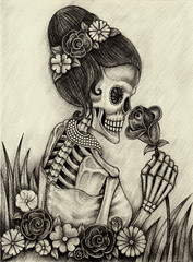 Art women skull day of the dead.Hand pencil drawing on paper