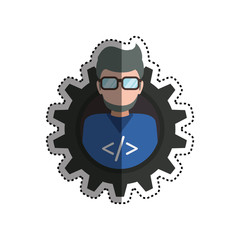 programmer man faceless glasses vector icon illustration