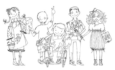 Group of children, include the boy in the wheel chair during the art lesson, drawing and enjoying activities. Educational concept