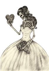 ฺBride Skull.Art design skull wedding in love action smiley face day of the dead festival hand pencil drawing on paper.