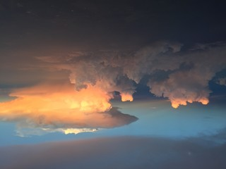 Texas sky sunset clouds airplane view sun