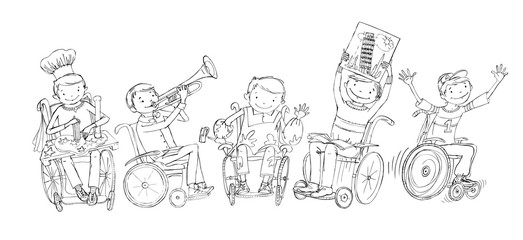 Little boy in the wheelchair doodle, paying musical instrument, drawing, running, reading. School activities, educational concept