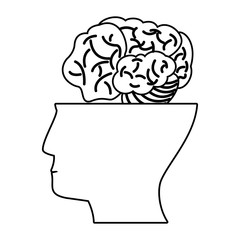 human head brain think outline vector illustration eps 10
