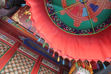 Chinese Monastery Colorful Decorations in Xining City Qinghai China