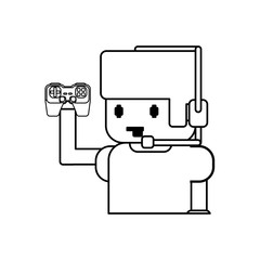 Gamer boy pixelated icon vector illustration graphic design
