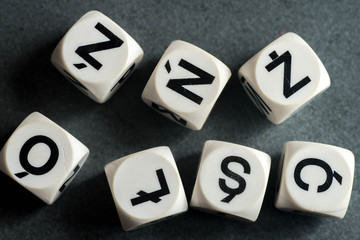 letters with Polish diacritic marks  on toy cubes