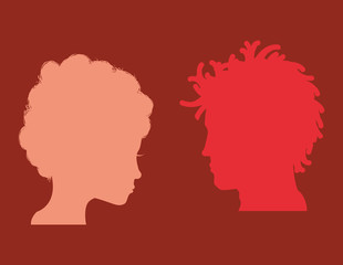 Man and woman heads silhouettes icon vector illustration graphic design