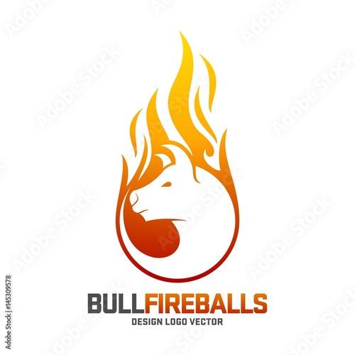 bull logo fireball angry bull design logo template stock image and