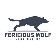 Wolf Logo, Ferocious Wolf Design Logo Template