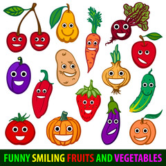 Funny smiling fruits and vegetables. Set flat vector image
