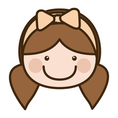 color silhouette cartoon front face girl with pigtails and bow lace hair vector illustration
