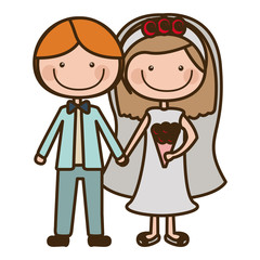 color silhouette cartoon couple in wedding suit with short hair vector illustration