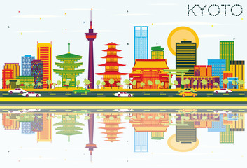 Kyoto Skyline with Color Buildings, Blue Sky and Reflections. Wall mural