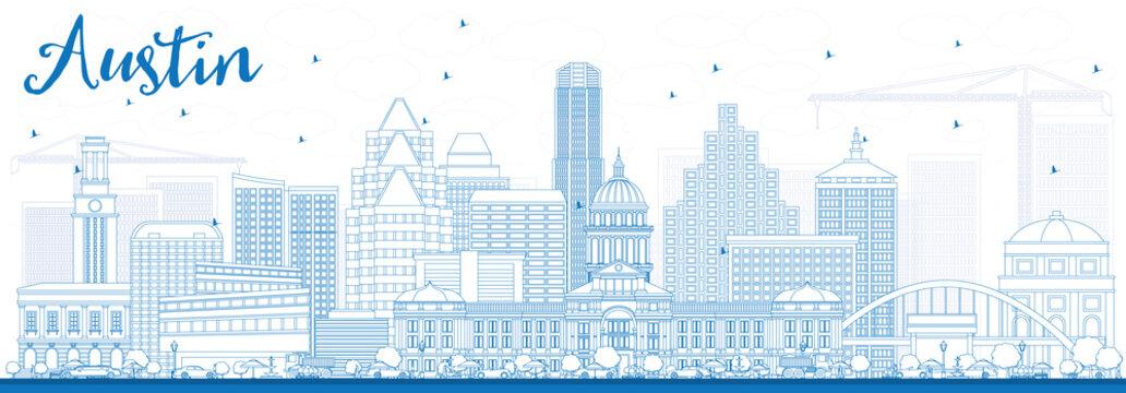 Outline Austin Skyline with Blue Buildings.