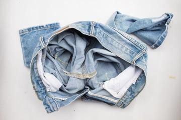 Blue jean on white background