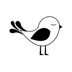 black silhouette with cute bird vector illustration