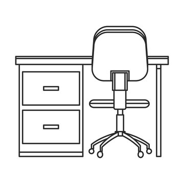 desk and chair office work outline vector illustration eps 10