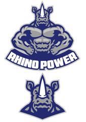 muscular rhino mascot show his athletic body