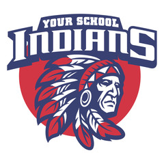 School mascot of indian chief head