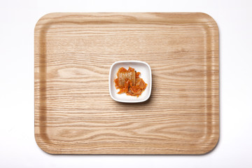 food tray with korean food, kimchi isolated white.
