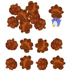 チョコレート味のポップコーンとペンギン