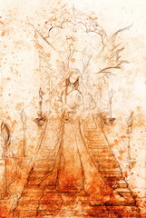 Mystical woman angel standing at staircase with the portal on the top. Color effect.