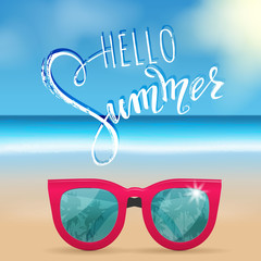Hello summer lettering, sunglasses. Tropical background, blue ocean landscape. Vector illustration EPS10.