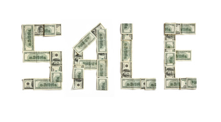 "Word ""SALE"" made of dollars. Photography of money made word - on white background. Top view. High resolution product"