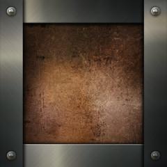 Metallic frame on a grunge background