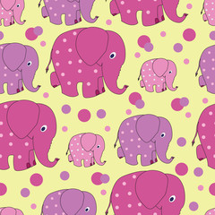 Funny elephants. Zoo. Vector image. Seamless pattern with funny pink elephants from silhouettes and dots. Cute Wallpapers for babies and children. The background is yellow.