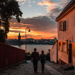 Love in the sunset . Walked around in Stockholm and found this perfect moment
