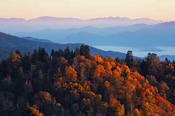Wall Murals Mountains Sunrise at Smoky Mountains